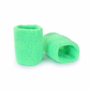 Pols zweetbandjes neon groen voor volwassenen 2 stukscarnavalskleding