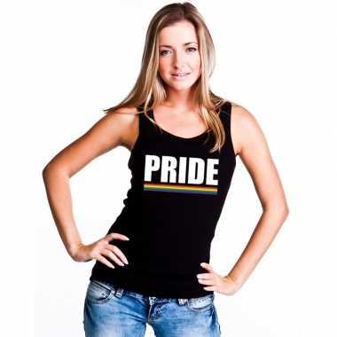 Pride mouwloos shirt zwart met regenboog vlag damescarnavalskleding