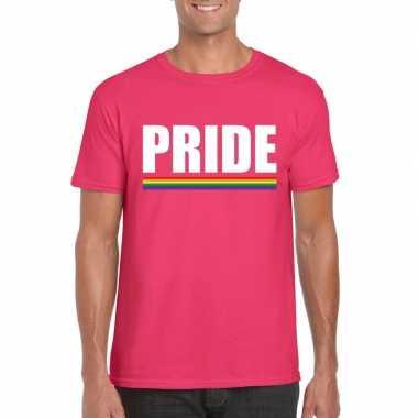 Pride shirt roze met regenboog vlag herencarnavalskleding