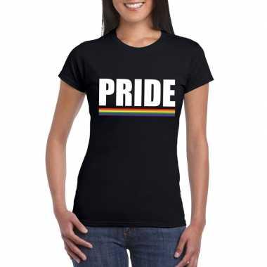 Pride shirt zwart met regenboog vlag damescarnavalskleding