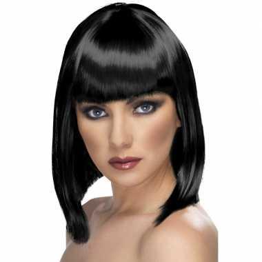 Pruik met zwart schouderlang haar carnavalskleding