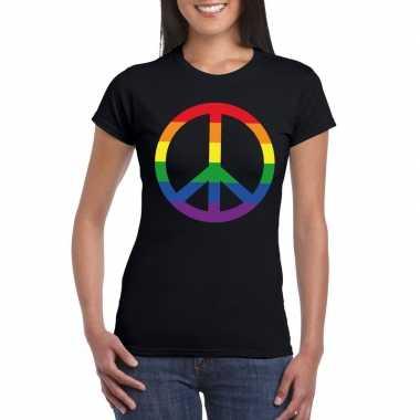 Regenboog peace teken shirt zwart dames carnavalskleding