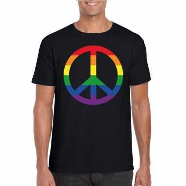Regenboog peace teken shirt zwart heren carnavalskleding