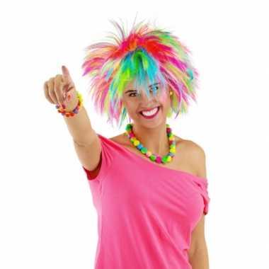 Regenboog rock chick dames pruikcarnavalskleding