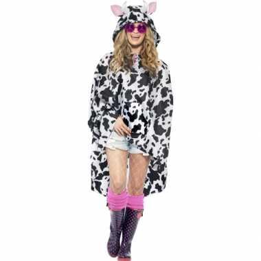 Regenponcho met koeienvlekkencarnavalskleding