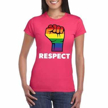 Respect lgbt shirt met regenboog vuist roze damescarnavalskleding