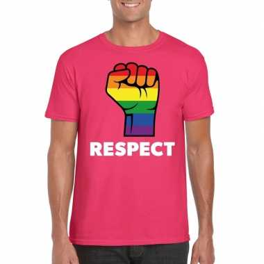 Respect lgbt shirt met regenboog vuist roze herencarnavalskleding