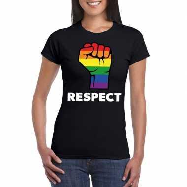 Respect lgbt shirt met regenboog vuist zwart damescarnavalskleding