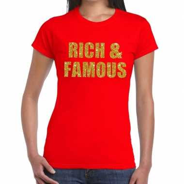 Rich and famous glitter tekst t-shirt rood damescarnavalskleding