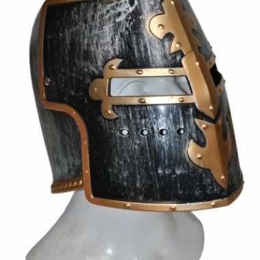 Ridder helmen zwart met goudcarnavalskleding