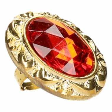 Ring met grote rode diamantcarnavalskleding