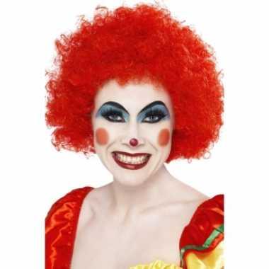 Rode afro clowns pruikcarnavalskleding