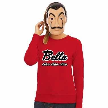 Rode bella ciao sweater met la casa de papel masker damescarnavalskle