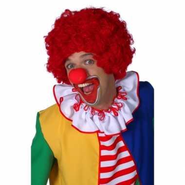 Rode clowns pruikcarnavalskleding