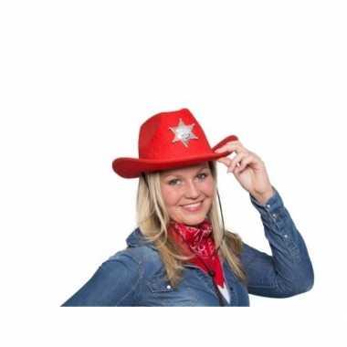 Rode cowboyhoed met sheriff ster en verlichtingcarnavalskleding