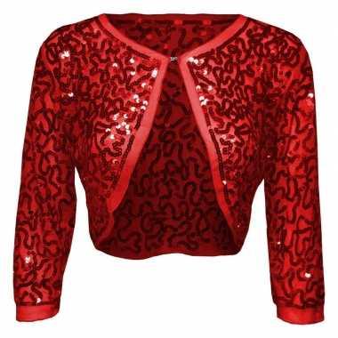 Rode glitter pailletten disco bolero jasje damescarnavalskleding