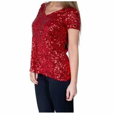 Rode glitter pailletten disco shirt damescarnavalskleding
