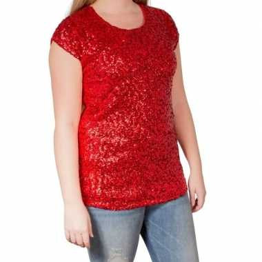 Rode glitter pailletten disco shirt dames l/xlcarnavalskleding