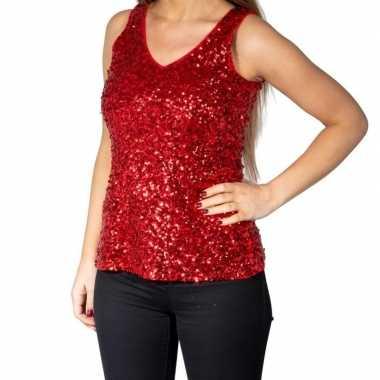 Rode glitter pailletten disco topje/ mouwloos shirt damescarnavalskle