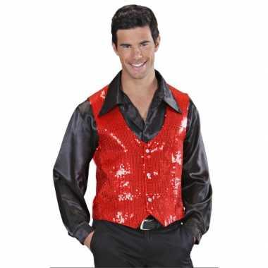 Rode heren vestje met paillettencarnavalskleding
