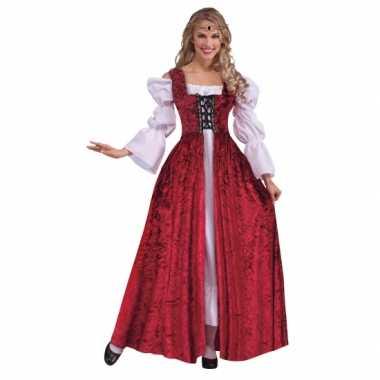 Rode jurk middeleeuwen themacarnavalskleding