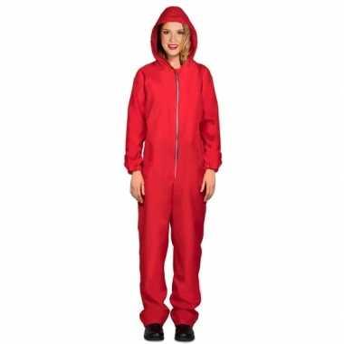 Rode overall papel voor damescarnavalskleding