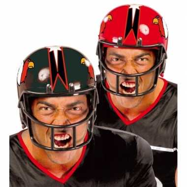 Rode rugby sporters helmcarnavalskleding