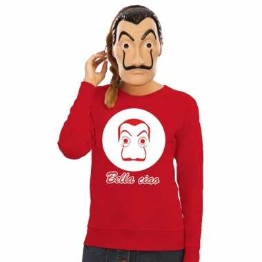 Rode salvador dali sweater met la casa de papel masker damescarnavals