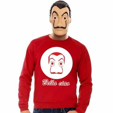 Rode salvador dali sweater met la casa de papel masker herencarnavals