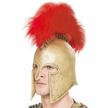 Romeinse helm met rode verencarnavalskleding