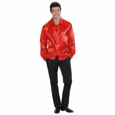 Rood 70s shirt voor herencarnavalskleding