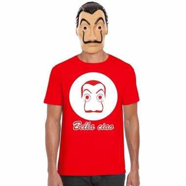 Rood dali t-shirt met la casa de papel masker herencarnavalskleding