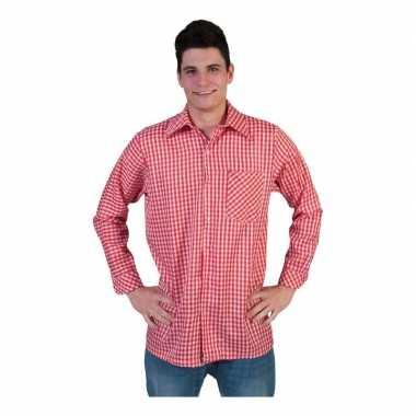 Rood geruit heren overhemdcarnavalskleding