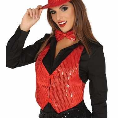 Rood gilet met glitters/pailletten voor damescarnavalskleding