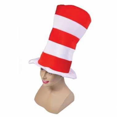 Rood met witte hoge hoed xxlcarnavalskleding