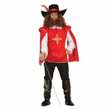 Rood musketierspak voor herencarnavalskleding