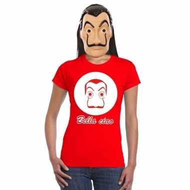 Rood salvador dali t-shirt met la casa de papel masker damescarnavals