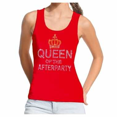 Rood toppers queen of the afterparty glitter tanktop damescarnavalskl