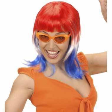Rood wit blauwe fanpruik dames carnavalskleding