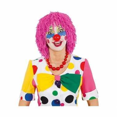 Roze clownspruik van wolcarnavalskleding