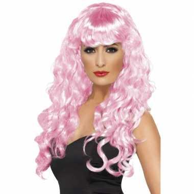 Roze feestpruik voor damescarnavalskleding