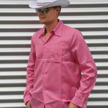 Roze geruit cowboy overhemd voor herencarnavalskleding