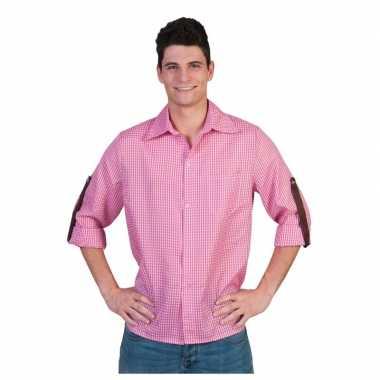 Roze geruit heren overhemd carnavalskleding