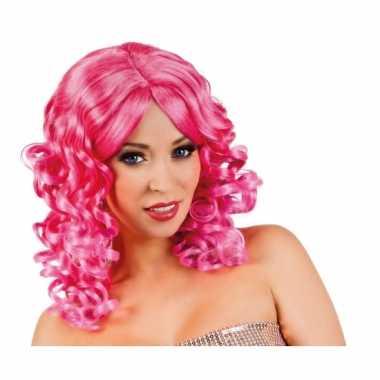 Roze glamour damespruik golvend haarcarnavalskleding