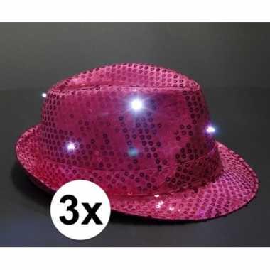 Roze glitter hoedjes met led licht 3 stukscarnavalskleding