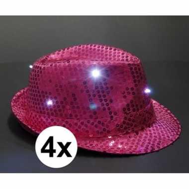 Roze glitter hoedjes met led licht 4 stukscarnavalskleding