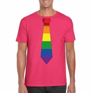 Roze t-shirt met regenboog vlag stropdas herencarnavalskleding