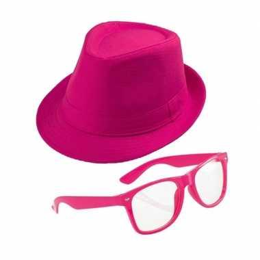 Roze verkleedsetje hoed met bril voor volwassenencarnavalskleding