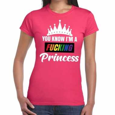 Roze you know i am a fucking princess gay pride t-shirt damescarnaval