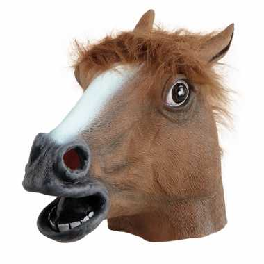 Rubberen paarden maskers bruin carnavalskleding